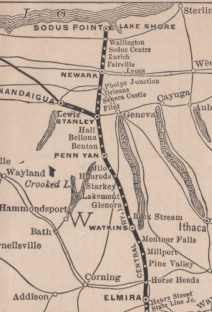 Elmira, Canandaigua and Sodus Point Branch map